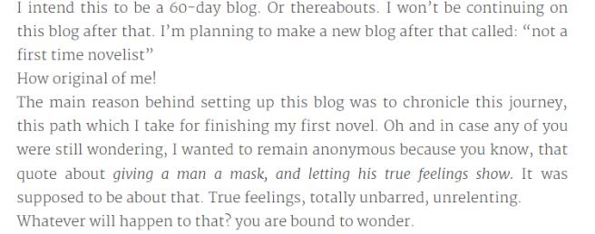 First time Novelist